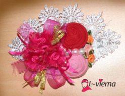 Brooch handmade shocking pink model terbaru, bros cantik alvierna 081326212750