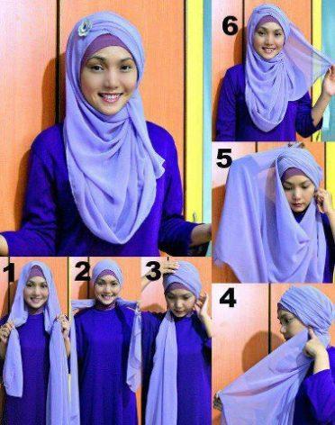 tutorial jilbab pashmina turban style