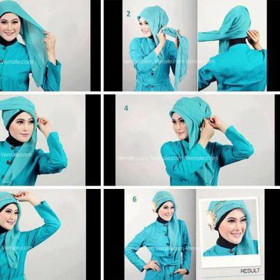 tutorial jilbab segi empat modern