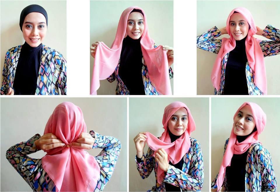tutorial jilbab segi empat mudah cantik