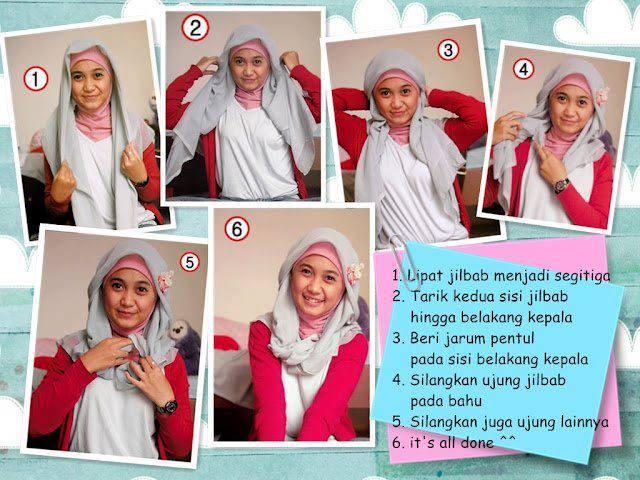 tutorial jilbab segi empat mudah simple cepat