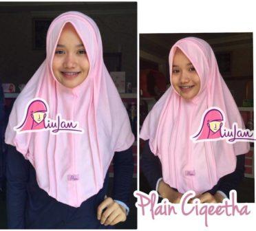 bergo instan plain ciqieta baby pink modern murah terbaru casual polos, grosir jilbab bergo murah