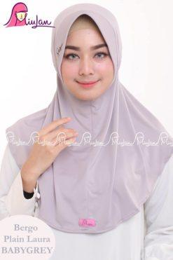 Bergo Plain Laura Miulan BPL Jilbab Serut Murah Baby Grey 0813-2621-2750
