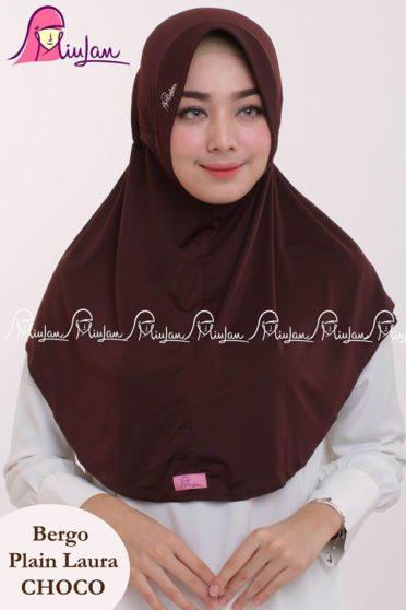 Bergo Plain Laura Miulan BPL Jilbab Serut Murah Coklat 0813-2621-2750