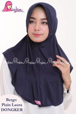 Bergo Plain Laura Miulan BPL Jilbab Serut Murah Navy 0813-2621-2750
